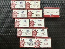(11) 50 State Quarter United States Mint Silver Proof Sets In Original Boxes