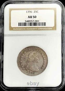 1796 United States Silver Draped Bust 25c Quarter Coin Ngc About Uncirculated 50