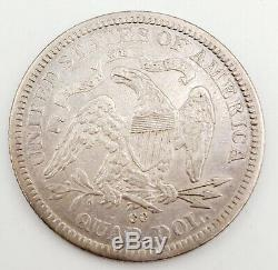 1876-CC United States Seated Liberty Silver Quarter 25c Coin Extra Fine Details