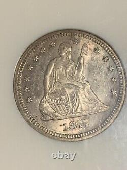 1877 25C Seated Liberty Quarter Dollar Mint State MS61 NGC Certification