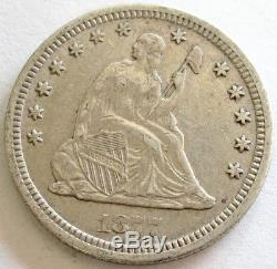 1877 CC Silver United State Seated Liberty Quarter Coin Extremely Fine Condition