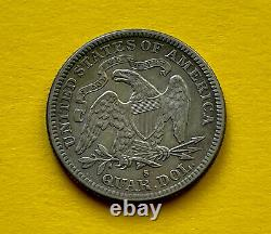 1888 S 25c Seated Liberty Quarter silver Mint State Coin, Beauty Color. Good