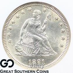 1891 NGC MS-63 Seated Liberty Quarter Mint State 63 Premium Quality, Blazer