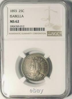 1893 Isabella Commemorative Silver Quarter Dollar NGC MS-62 Mint State 62