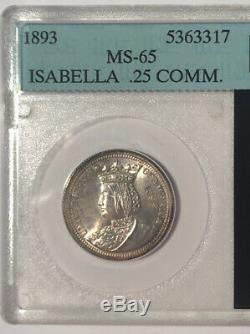 1893 Isabella Quarter Silver United States Commemorative Old Time Slab GEM