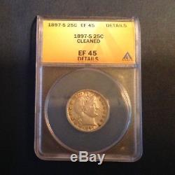 - 1897 S United States Barber Quarter Key Date