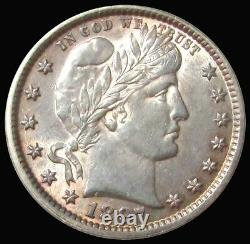 1897 United States Silver Barber Quarter Dollar Coin Au Condition