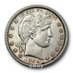 1899 25C Barber Quarter Uncirculated Mint State Liberty Head #2595