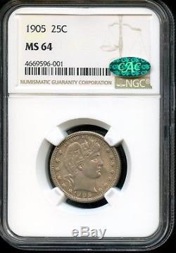 1905 25c Ngc & Cac Ms 64 (mint State 64) Barber Quarter Sh236