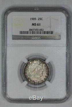 1905 Barber Quarter 25c Silver Ngc Certified Ms 61 Mint State Uncirculated (002)