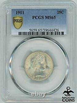 1911 United States Barber Liberty Head 25c Silver Quarter Coin PCGS MS65 KM#114