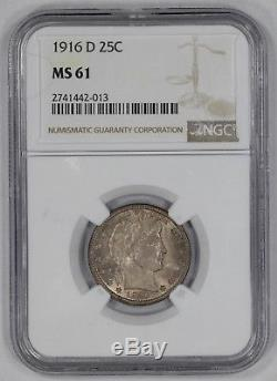 1916 D Barber Quarter 25c Ngc Certified Ms 61 Mint State Unc (013)