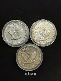 1917-P Type1 & 2 Standing Liberty Quarters! Original State AU/BU Cond! 1918-P HG