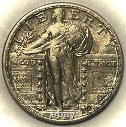 1917-d Standing Liberty Quarter Type-2 Mint State FH, Semi Rare Variety, Unc