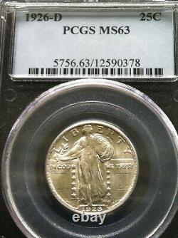 1926-D Standing Liberty Quarter 25c PCGS Mint State MS 63 White Lusterous