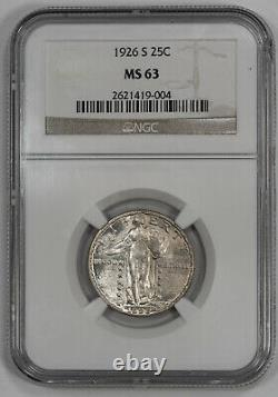 1926 S Standing Liberty Quarter 25c Ngc Certified Ms 63 Mint State Unc (004)