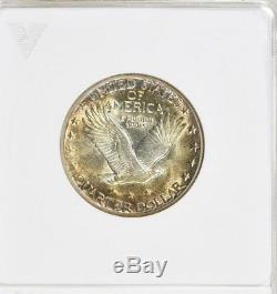 1930-S Standing Liberty Quarter MS62 ANACS Old Holder, Toned, Mint State 25c