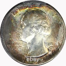 1932-P PCGS 25C Silver Washington Quarter Dollar Mint State MS63 Rainbow Toned