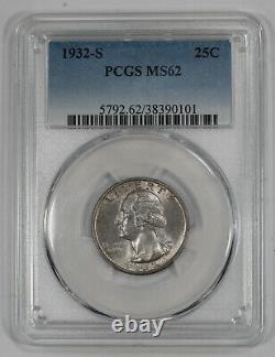 1932 S Washington Quarter 25c Pcgs Certified Ms 62 Mint State Unc (101)