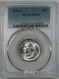 1932 S Washington Quarter 25c Silver Pcgs Certified Ms 63 Mint State Unc (020)