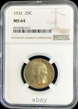 1932 Us Silver Washington Quarter 25c Coin Ngc Mint State 64