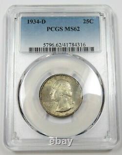 1934-D PCGS MS62 Mint State Washington Quarter 25c US Coin #27771A