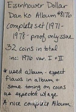 1971-1978 Eisenhower Dollar Inc Proof Only Book Dansco Album #8176 Complete