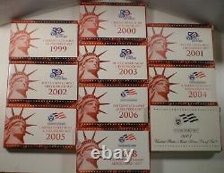 1992 to 2008 Silver Proof Sets 1999 through 2008 includes the 50 State Quarters