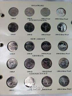 1999-2003 Fifty State Quarters COMPLETE Set withSilver Proofs BU 100 coins album