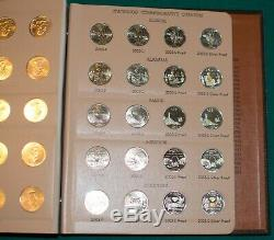 1999-2003 P/D/S Proof Statehood Quarter Dansco 100 Coins with Silver Proofs