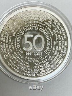 1999-2008 50 U. S. Statehood Quarter Commemorative 1/4 Pound. 999 Fine Silver