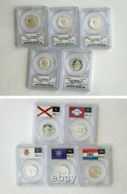 1999-2008 Complete 50 States Silver State Quarter Flag Set PCGS PR69