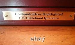 1999-2008 GOLD & SILVER HIGHLIGHTED STATE QUARTER 50 COIN SET with DISPLAY BOX