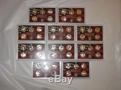 1999-2008 SILVER STATE QUARTER PROOF SETS 10 SETS ALL 50 STATES no box or COA