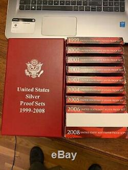 1999-2008 SILVER US Proof Sets withbox -Complete Cameo SILVER 50 State Quarter Set