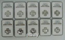 1999-2008 S Silver 50 Statehood Quarter Set All NGC PF69 Ultra Cameo 3 NGC Cases
