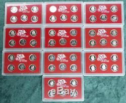 1999-2008 S Silver Proof State Quarter Set Run, 10 PF Sets, 50 Proof Coins Total