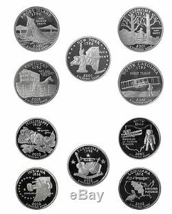 1999 2008 S State Quarter Proof Roll Cameo 90% Silver 40 US Coins Random Mix