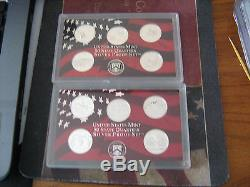1999-2008-S US PROOF SILVER STATE QUARTERS 50 CAMEO COINS #aa1