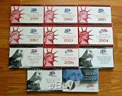 1999-2008 Silver Proof Sets 50 State Quarters + 2009 Proof Quarters Set + COA