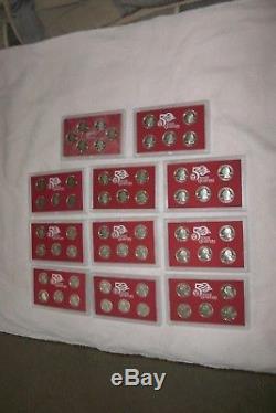 1999-2008 Silver Quarter Proof Sets+ the 2009 Six territorials. All 56 coins