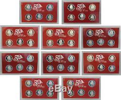1999-2008 State Quarter Proof set run 90% Silver No Boxes or COAs US MINT
