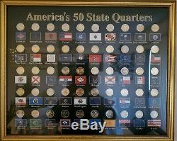 1999-2008 Statehood 2-Tone Quarters Silver Plated Gold Highlighted in Wood Frame
