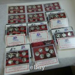 1999 2009 (11) Silver Proof State Quarter Sets 90% Silver 56 Coins