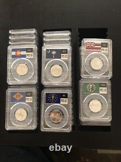 1999-2009 COMPLETE 56 Coin Silver Proof State Quarter Set PR 69 DCAM Flag Holder
