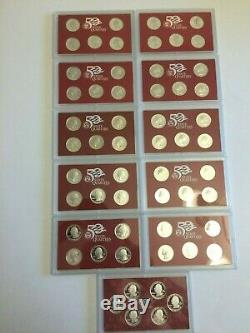 1999-2009 STATE & TERRITORY-SILVER PROOF SETS WithOGP & COA-11 SETS =56 pc TOTAL