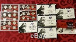1999 2009 S Silver Proof Sets 50 State Quarters Program Lot Of 11 / Mint Cases