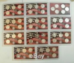 1999-2009 S -State Quarters SILVER Proof Complete 50 Coins & DC Territories set