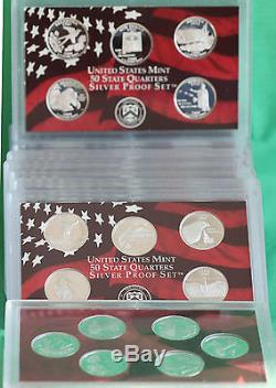 1999 2009 Silver Proof Quarter Lot 56 Coins NO BOXES US Mint Acrylic Holder 11