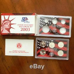 1999-2009 Silver Proof Statehood Quarter 11 Yr 56 Pc Set Complete-Boxes & COA's